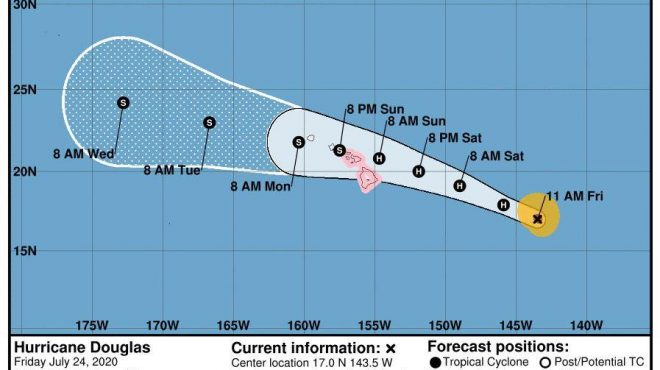 Hurricane Douglas weakens to Category 3 but still dangerous, landfall expected early Sunday