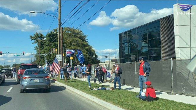 Trump supporters gather at Walter Reed Hospital where US President Donald Trump is hospitalized for COVID-19