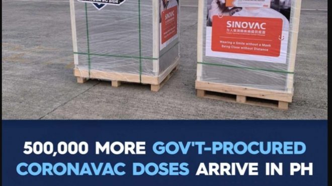 500k more Sinovac doses arrive in Philippines; total Sinovac doses delivered reach 3 million